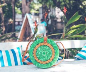 Round woven bag used by women Stock Photo 05