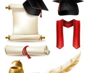 Royal academic degree design elements vector