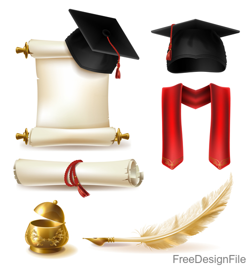 Royal academic degree design elements vector