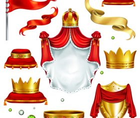 Royal crown with emblem illustration vector