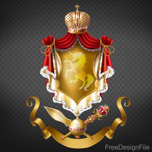 Royal decorative with golden ribbon vector