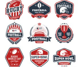 Rugby labels with logo design vector