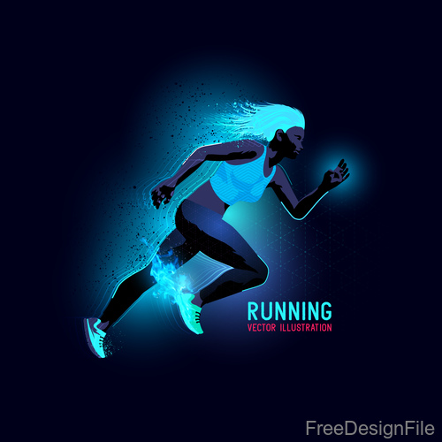 Running neon glowing background vector 01