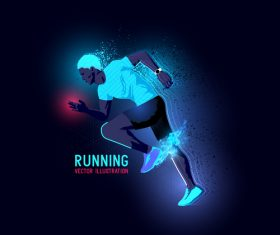 Running neon glowing background vector 02