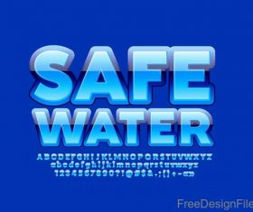 Safe water alphabet with numbers vector