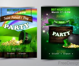 Saint patrick day party flyer with template vectors 07