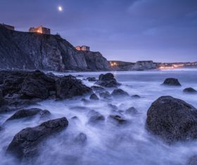 Sea waves water landscape and coast house Stock Photo