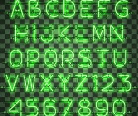 Shiny neon numbers wtih alphabet vector