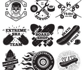 Skate shop logos vector set
