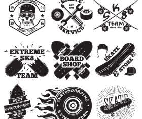 Skate shop logos vector set