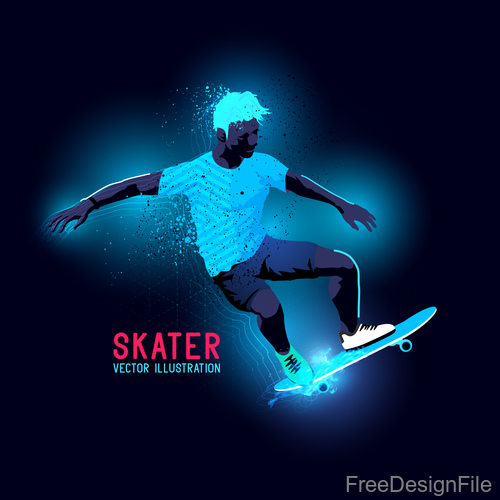 Skater neon glowing background vector