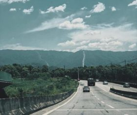 Sky clouds mountain road landscape photography Stock Photo