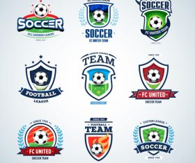 Soccer labels with logo design vector
