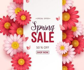 Special offer spring sale with flowers vector