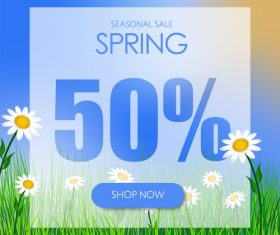 Spring 50 discount background vector