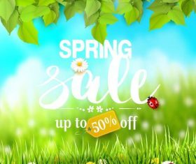 Spring sale background with green leaves and grass vector