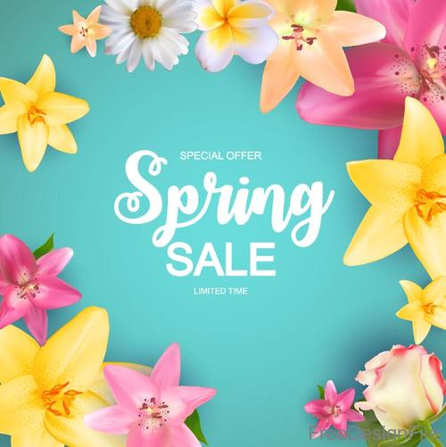 Spring sale design with flower background vector