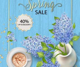 Spring sale design with wood wall background vector