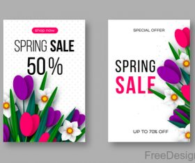 Spring sale discount brochure template vector