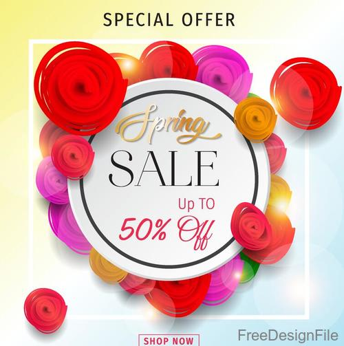 Spring sale discount card with flower vector