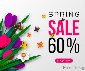 Spring sale discount vector background 02