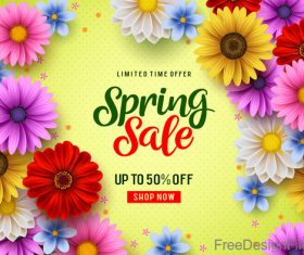 Spring sale shop now poster with beautifule flower vector 01