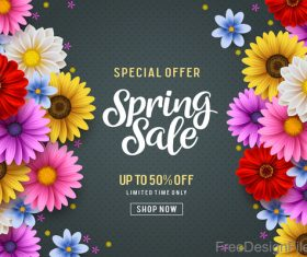 Spring sale shop now poster with beautifule flower vector 02