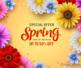 Spring sale shop now poster with beautifule flower vector 03