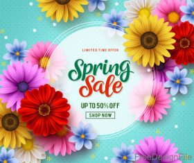 Spring sale shop now poster with beautifule flower vector 04
