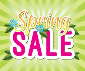 Spring sale sticker with abstract background vector