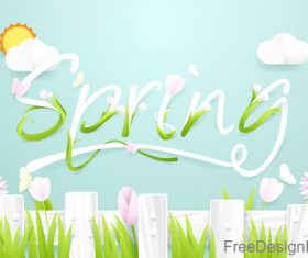 Spring season background with wooden fence with flowers vector