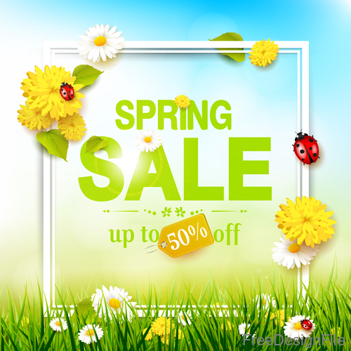 Spring square meadow sale background vector