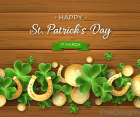 St patrick day design with wooden wall background vector 03