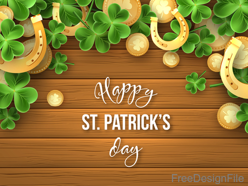 St patrick day design with wooden wall background vector 02