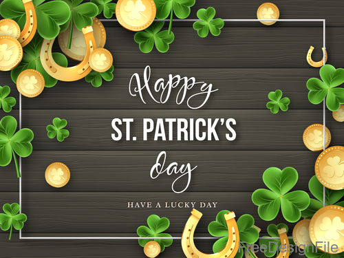 St patrick day design with wooden wall background vector 04