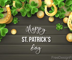 St patrick day design with wooden wall background vector 01