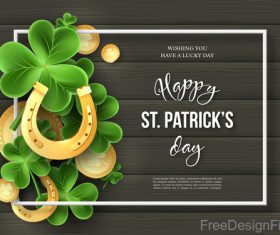St patrick day design with wooden wall background vector 05