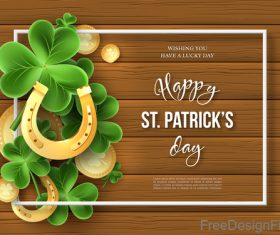 St patrick day design with wooden wall background vector 06