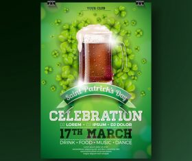 St patrick day festival flyer with poster template vectors 06