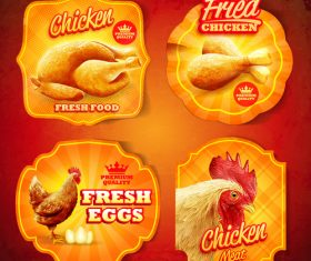 Stickers chicken vector design