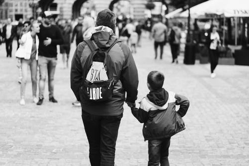 Stock Photo Father and son black and white photo 02
