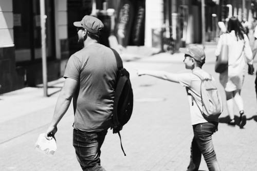 Stock Photo Father and son black and white photo 03