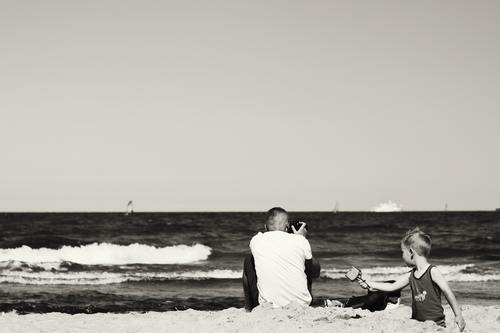 Stock Photo Father and son black and white photo 05