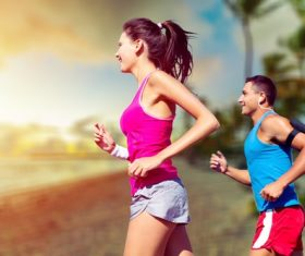 Stock Photo Woman and man jogging