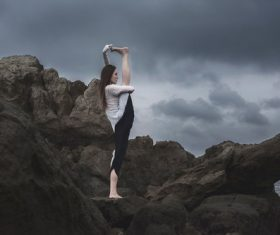 Stock Photo Yoga stretching action