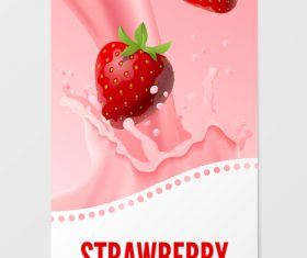 Strawberry milk vertical banner vector