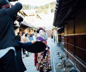 Street shooting geisha Stock Photo