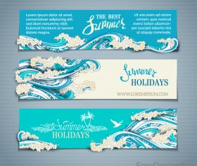 Summer holiday banners with wave vector 02