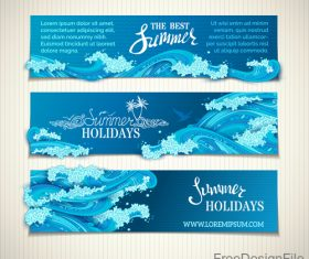 Summer holiday banners with wave vector 04