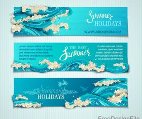 Summer holiday banners with wave vector 06